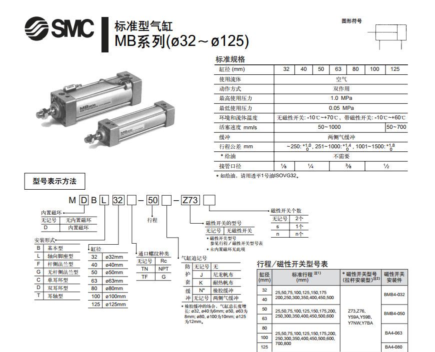 smc标准气缸图片